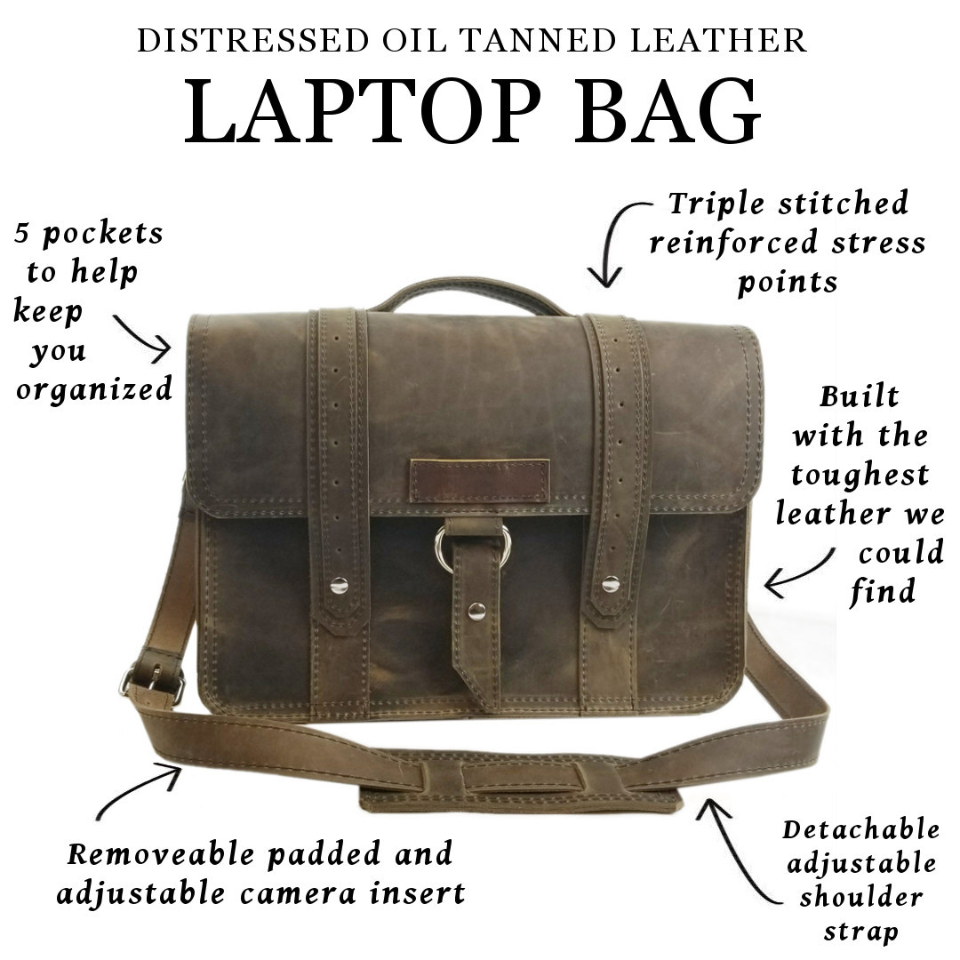 Distressed leather briefcase laptop bag